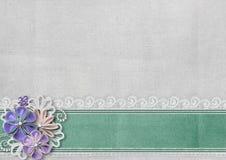 与边界和手工制造花的织地不很细背景 库存照片