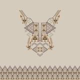与边界的领口设计在时尚的种族样式 阿兹台克脖子印刷品 库存图片
