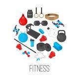 与运动器材元素集的平的时髦颜色背景健身房或健身俱乐部flayers的 库存照片