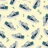 与运动鞋3的无缝的纹理 库存图片