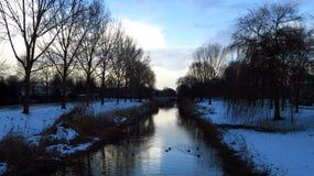 与运河和树的积雪的冬天风景 免版税库存图片
