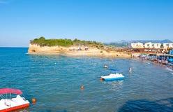与运河D'Amou的小海湾的Sidary沙滩 corfu希腊海岛 库存照片