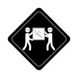 与运载包裹的人的单色路标图表 向量例证