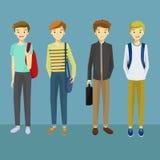 与运载袋子传染媒介例证的各种各样的姿势的年轻人字符 免版税库存照片