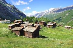 与近瑞士山中的牧人小屋的美好的农村风景 库存照片