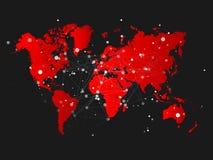 与连接栅格的世界地图剪影-导航例证 库存图片