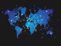 与连接栅格-传染媒介的世界地图剪影 库存图片