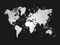 与连接栅格-例证的世界地图剪影 图库摄影
