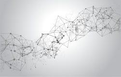 与连接的小点和线的抽象多角形空间背景 库存图片