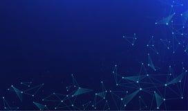 与连接的小点的抽象多角形在蓝色背景的连接和线 库存例证