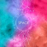 与连接的小点的水彩例证,与星座的空间背景 库存例证