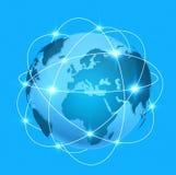 与连接的蓝色数字式世界地图 库存照片