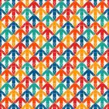 与连结的箭头的明亮的印刷品 与尖的当代背景 五颜六色的几何无缝的模式 库存例证