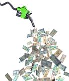 与迪拉姆钞票的燃料喷嘴 库存照片