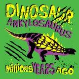 与迪诺的普遍的现代样式印刷品T恤杉、纸、纺织品和织品的绿色背景的 与恐龙的背景为 皇族释放例证