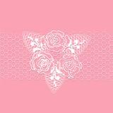 与迷人的玫瑰的白色鞋带 免版税库存图片