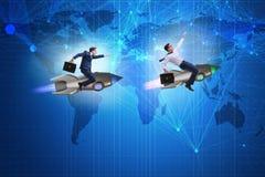 与追逐商人的全球竞争概念 库存照片