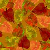 与退色的叶子的无缝的样式 库存图片