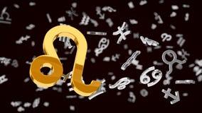 与选择的占星术主题的3d例证一个利奥标志 库存照片