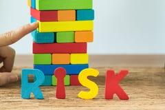与选择聚焦的经营风险概念在字母表风险和 图库摄影