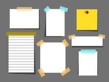 与透明胶带集合的白皮书板料 提示消息的板料页 也corel凹道例证向量 库存照片
