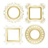 与透明阴影-葡萄酒的金子装饰传染媒介框架 免版税库存照片