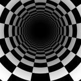 与透视作用的抽象棋隧道背景 免版税库存照片