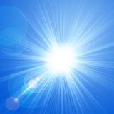 与透镜火光,传染媒介背景的太阳。 库存图片