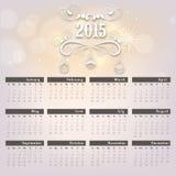 与逐年日历的新年快乐2015年庆祝 库存例证