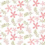 与逗人喜爱桃红色花卉无缝的样式 免版税库存图片