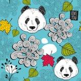 与逗人喜爱的中国人熊的五颜六色的无缝的背景 库存照片