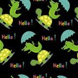 与逗人喜爱的乌龟和鳄鱼的无缝的样式 向量打印 库存例证