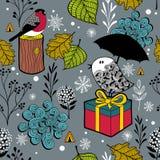 与逗人喜爱的乱画鸟的无缝的冬天样式在冷的森林里 库存图片