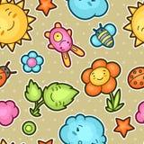 与逗人喜爱的乱画的无缝的kawaii儿童样式 快乐的漫画人物太阳,云彩,花的春天汇集 免版税库存照片