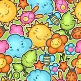 与逗人喜爱的乱画的无缝的kawaii儿童样式 快乐的漫画人物太阳,云彩,花的春天汇集 向量例证