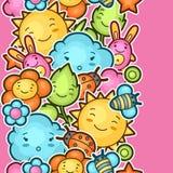 与逗人喜爱的乱画的无缝的kawaii儿童样式 快乐的漫画人物太阳,云彩,花的春天汇集 库存图片