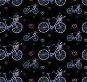 与逗人喜爱的乱画自行车的无缝的模式 免版税库存图片