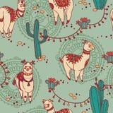 与逗人喜爱的乱画alapaca的无缝的样式在boho样式和仙人掌 库存例证