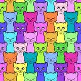 与逗人喜爱的五颜六色的动画片小猫的无缝的样式 库存照片