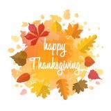 与逗人喜爱的五颜六色的叶子的手拉的秋天印刷术海报在平的样式 图库摄影