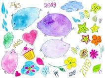 与逗人喜爱的五颜六色的猪的手拉的水彩集合 库存例证