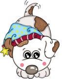 与逗人喜爱的冬天帽子的愉快的白色狗 皇族释放例证