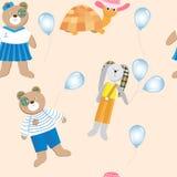 与逗人喜爱的动物、玩具和气球的无缝的样式 库存照片