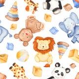 与逗人喜爱的动物和玩具的水彩样式 向量例证