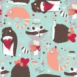与逗人喜爱的动物的无缝的样式例如浣熊、鬣鳞蜥和猬和企鹅与心脏,装饰用乱画星 免版税库存图片