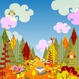 与逗人喜爱的动物的秋季森林卡片 库存照片
