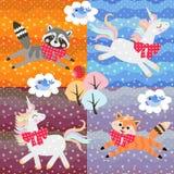 与逗人喜爱的动画片动物的补缀品样式:独角兽、浣熊、鸟和一点狐狸在圆点patchs 库存例证