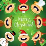与逗人喜爱的动画片孩子的圣诞卡五颜六色的服装的 库存照片