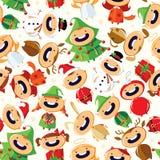 与逗人喜爱的动画片孩子的圣诞节无缝的样式五颜六色的服装的 图库摄影