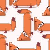 与逗人喜爱的动画片狐狸的传染媒介无缝的样式 库存例证